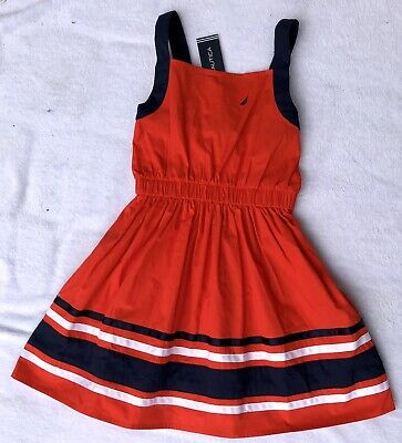 Nautica Girls Sz 7 NWT  Red White And Blue Cotton Dress $42.50 Cute!