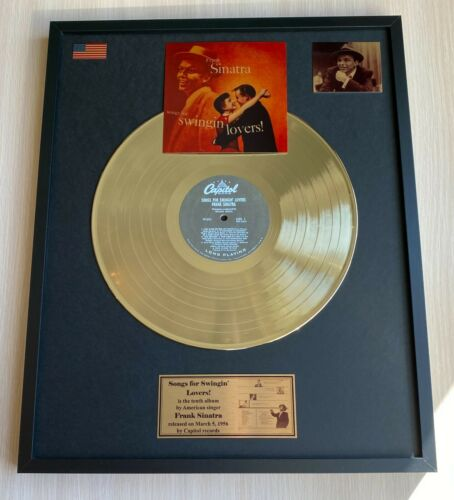 Frank Sinatra Songs For Swingin Lovers 1956 Vinyl Gold Metallized Mounted Record