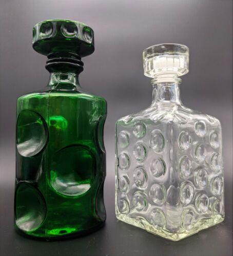 VTG 2 Optical Glass Decanter Bottles - Impressions of Polka Dots - MCM - Barware