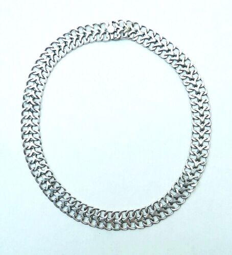 """Vintage Taxco Sterling Double Curb Link Necklace / Choker, Signed J.R.R--15 3/8"""""""