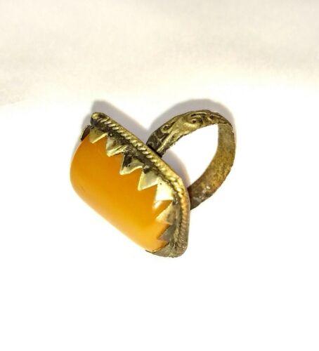 Antique Primitive Butterscotch Amber Ring