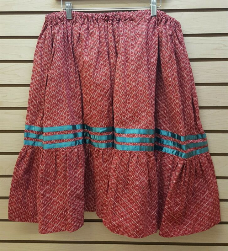 2XL HOMEMADE RED ORANGE GEOMETRIC DESIGN NATIVE AMERICAN INDIAN RIBBON SKIRT