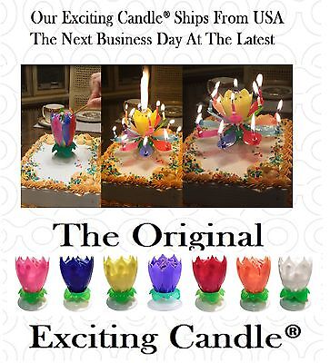 2-Pack Rainbow Musical Lotus Flower Rotating Exciting Birthday Candles From USA