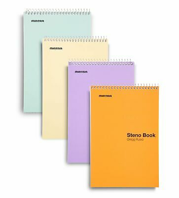 Steno Books 4 Pack Pastel Colors - Green Tint Paper Gregg Ruled