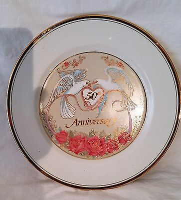 Two Doves Vintage 50th WED Anniversary Plate  Norcrest Fine China pink roses 10""