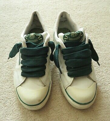 Rare Retro Sneakers Dunlop Green Flash White Leather Like Trainers + Fat Laces for sale  Shipping to South Africa