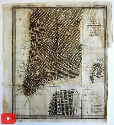 New York City plan 1846 D.H. Burr lower Manhattan Brooklyn scarce bond paper