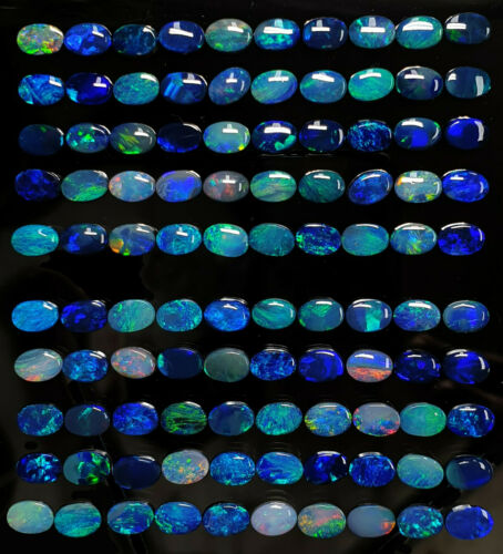 50 Pieces 6x4 mm Oval Cut Natural Lightning Ridge Black Opal Doublets for Sale