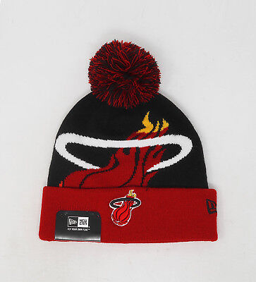 NEW ERA NBA Miami Heat Black Red Cuffed Knit Pom Cap Adult Beanie (Red Cuffed Knit Beanie)
