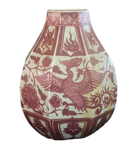 Chinoiserie Yuan Dynasty Style Porcelain Lamp Base .