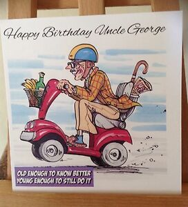 Handmade Personalised Funny Witty Old Man Mobility Scooter Male Birthday Card