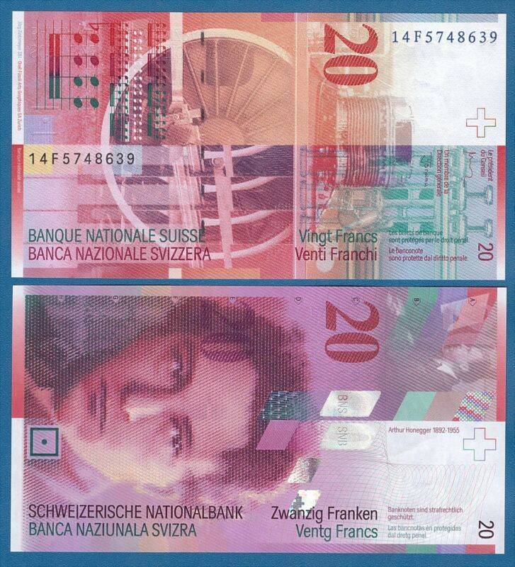 Switzerland 20 Franks P 69 ( 2014 ) UNC Low Shipping! Combine FREE! P-69h Sign A