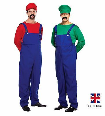 ADULT SUPER MARIO AND LUIGI WORKMEN Mens Couples Fancy Dress Costume Outfits UK
