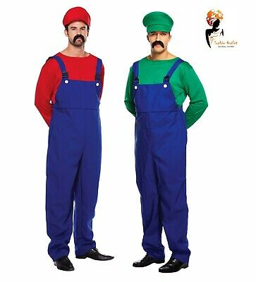 ADULT WORKMEN Men's Super Plumber Couples Outfits Fancy Dress Costume Stag Night - 1980s Couples Halloween Costumes