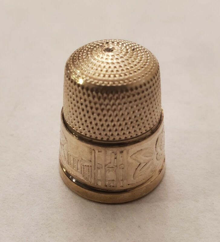 Sterling Silver Thimble - Unusual Design - Cathedral Shield Flowers