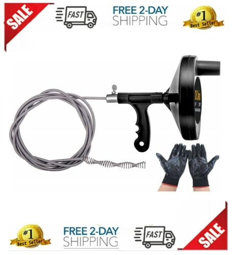 Cleaning Clog Plumbing Manual Spin Drain Cleaner Snake Pipe Auger Spring Cable