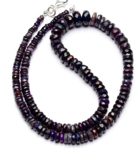 """Natural Gem Sugilite Necklace 4 to 9mm Size Faceted Rondelle Beads 16"""""""