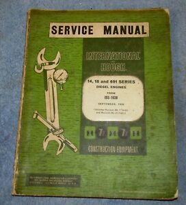 Vtg INTERNATIONAL HOUGH Diesel Engine 14 18 691 Series 1958 Service Manual J233