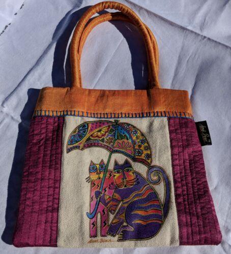 Colorful Laurel Burch designed Small Purse with Cats & Umbrella, Snap closure.