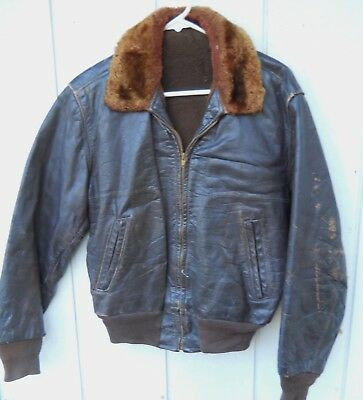 VINTAGE DISTRESSED BROWN LEATHER ZIPPER JACKET MEN SZ MED US MADE FLEECE LINED for sale  Shipping to India