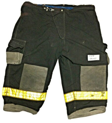 58x27 Cairns Black Fighter Bunker Turnout Pants w/ Yellow Reflective Tape P1279