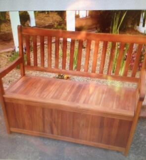 NEW HARDWOOD OUT DOOR BENCH SEAT WITH STORAGE .