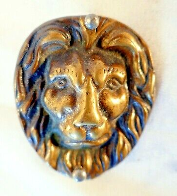 Small Antique Cast Brass Lions Head Decal Plaque from a Box or Desk