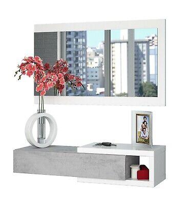 Recibidor con cajon y espejo entrada pasillo industrial blanco cemento moderno