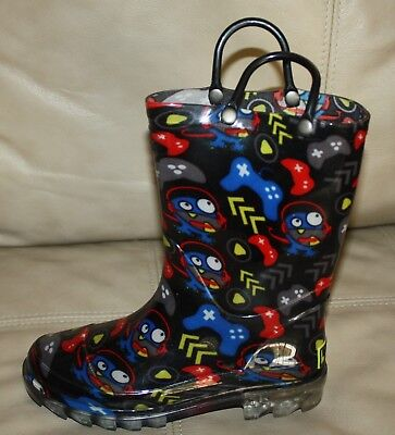 Western Chief Waterproof Gamer Lighted Rain Boots Kids Size 12