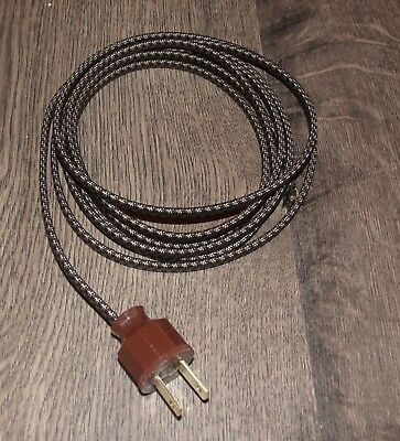 Brown Lamp Cord - BLACK & BROWN ~ 8' Cloth Covered Lamp Cord & Vintage Plug ~ Light Fan Appliance