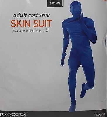 Halloween Blue Skin Suit BodySuit Adult Costume Sz Small 34-36 Chest 30-32 Waist