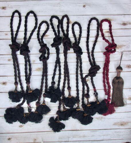 Christmas Corner Rope Tassel Tree Garland Tie Back Dark Red Black Lot 8 Vtg 90