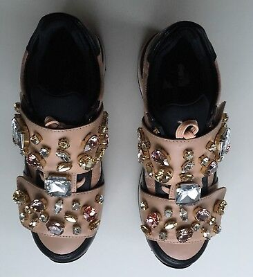 NIB Authentic DOLCE & GABBANA Jeweled Crystal Embellished Sneakers  SZ 35 EU