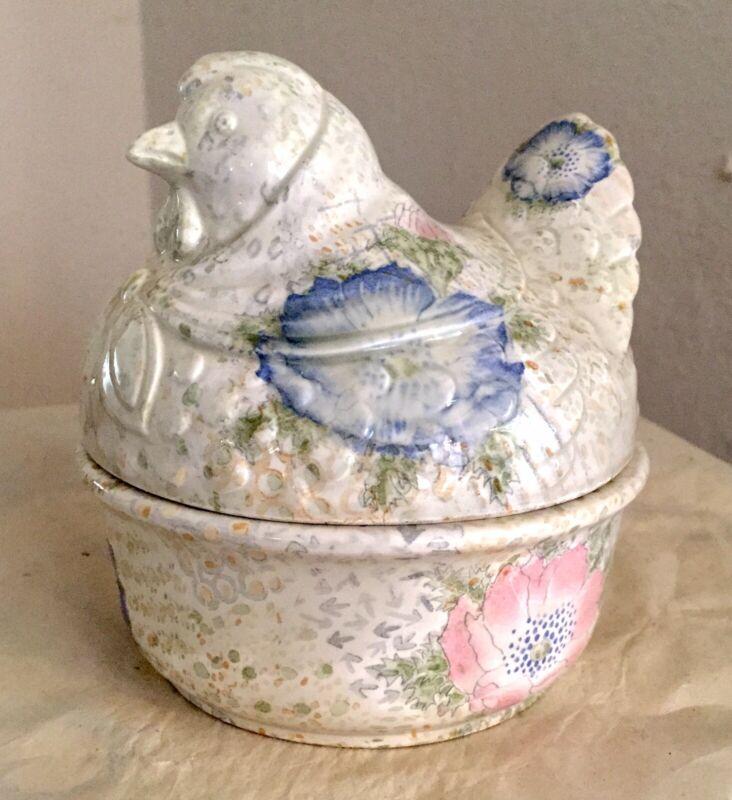 Fitz & Floyd Vintage 1981 Porcelain Ceramic Hen Covered Bowl Dish - EXCELLENT