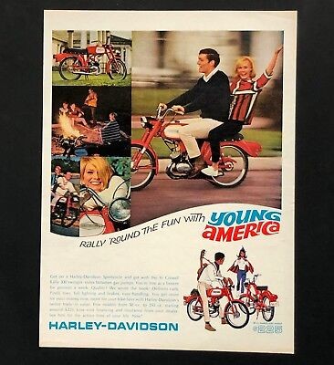 1966 Harley-Davidson Sportcycle Advertisement Scooter Yound America Vtg Print AD