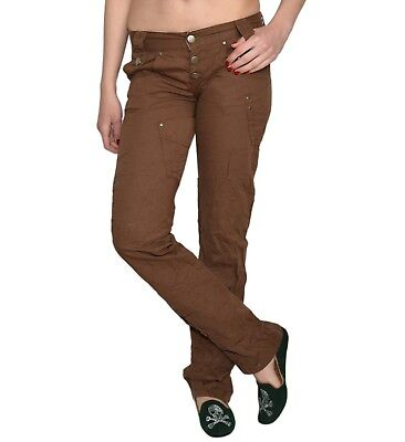 Damen Jeans Hüfthose Hose Denim Stoff Braun Bootcut Decon-Yvonne- (Braune Denim-stoff)