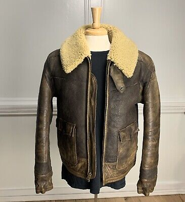 Polo Ralph Lauren Aviator Shearling Leather Bomber Jacket Pre Production Sample!