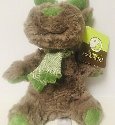 ANIMAL ADVENTURE Moose Plush Brown Stuffed with Green Stripes Scarf 9