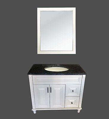36' Antique Wood Bathroom Vanity - New Antique White Single Bathroom Vanity Base Cabinet 36
