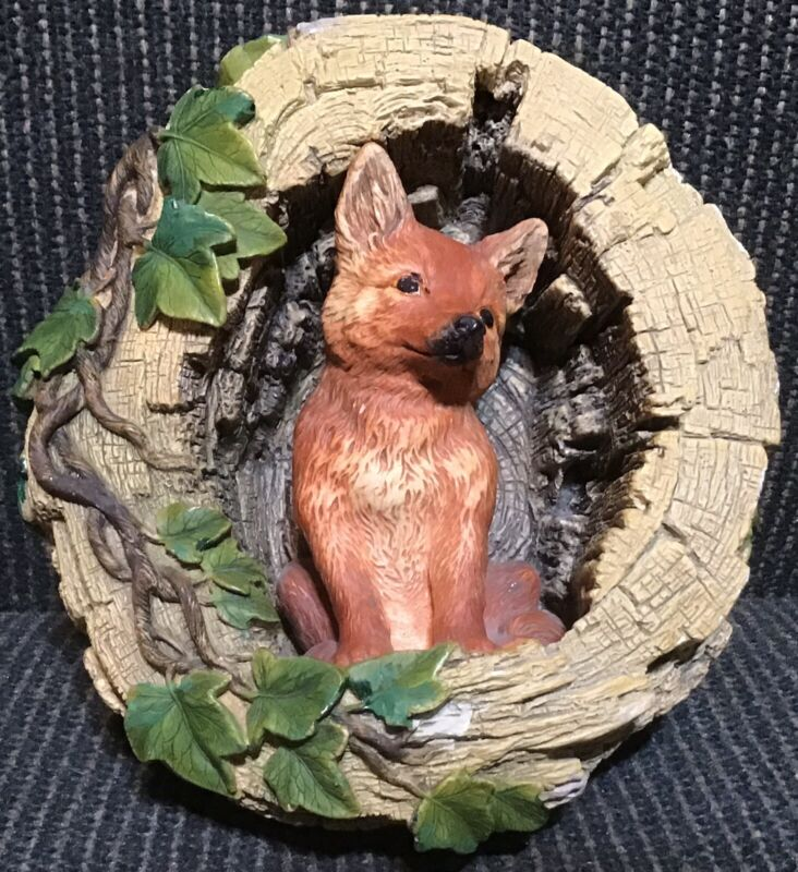 Bossons Chalkware Wall Hanging Fox In Log Figurine