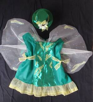 Costume: Tinkerbell  Shimmer Green with Hat - Size 3-4 NEW