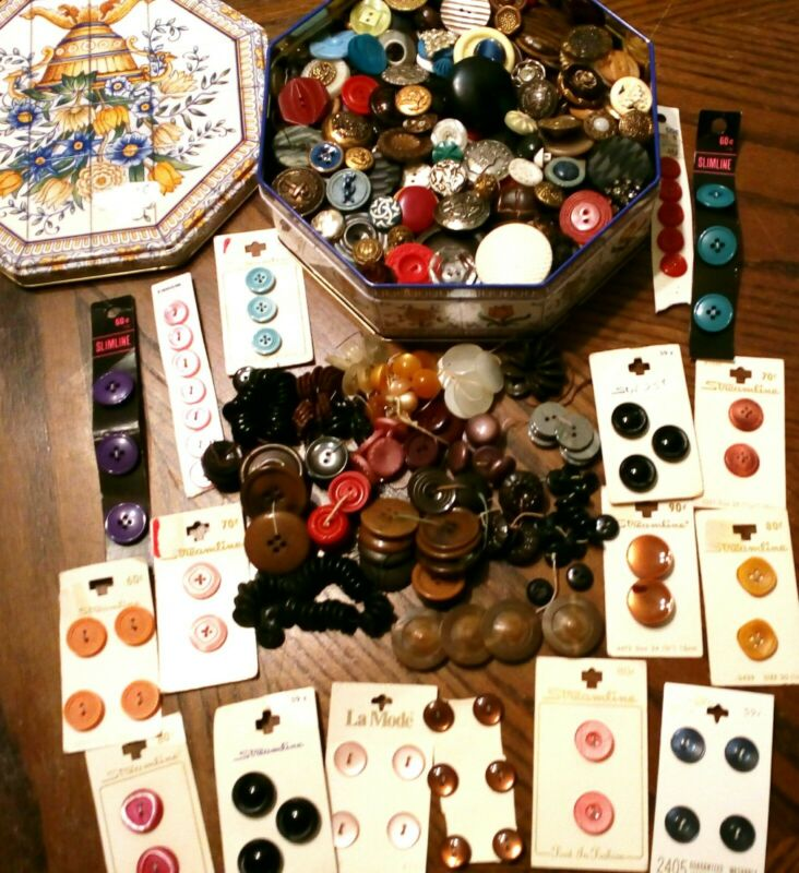 LG VINTAGE & MIX BUTTONS Lot CARD Loose Sets RHINESTONE Military GLASS Celluloid