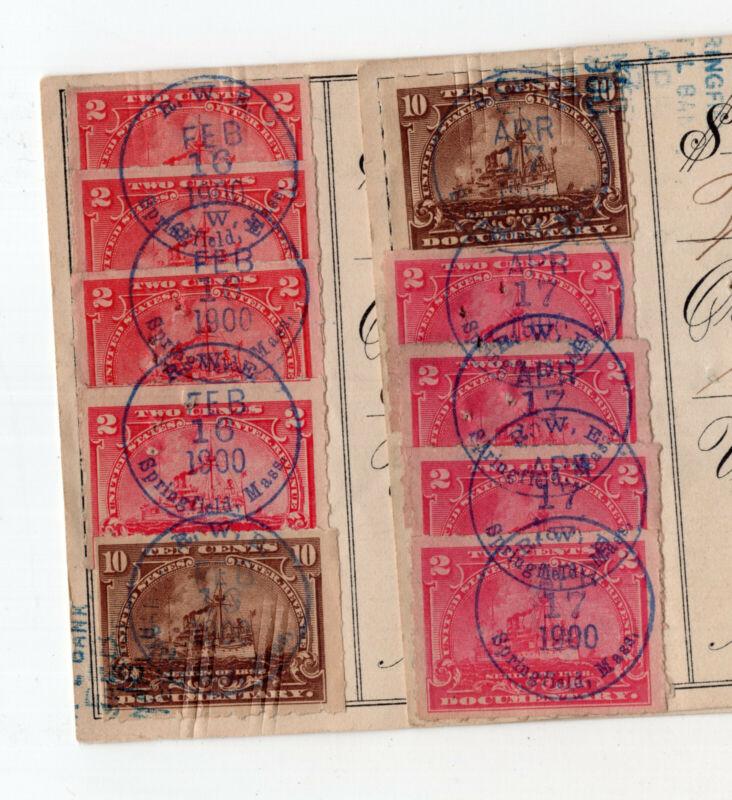 2 US revenue stamp paper bank checks SC#R164 R168 Massachusetts 1900  ID#S2670