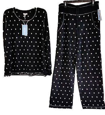 Schwarze Fleece Pyjama-hosen (Jockey Damen Nachtwäsche Microfleece Rundhals Top Pyjama Hose Satz S M L XL)