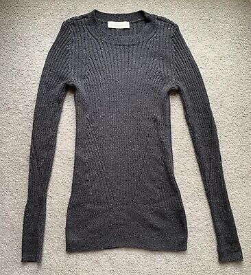 ABERCROMBIE & FITCH Ribbed Sweater S NWT Knit Pullover Top Grey ANF A&F