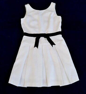 HELENE BERMAN London White drop waist black ribbon bow textured Dress Sz 6