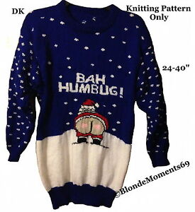 Bah Humbug Naughty Santa Christmas Jumper Knitting Pattern 24-40