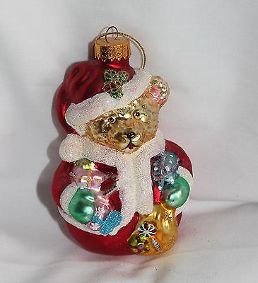 Teddy Bear Santa Claus - Blown Glass Christmas Ornament Chubby Belly - NEW