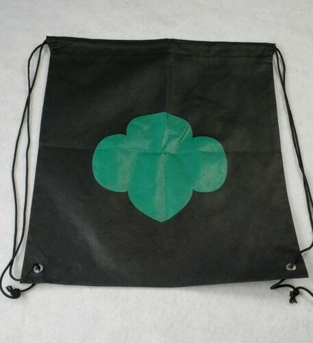 Girl Scout Drawstring Backpack Bag Trefoil Black and Green New Without Tags