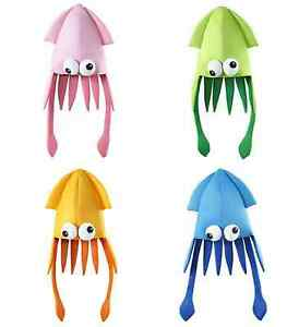 funny squid hat under the sea fancy dress underwater cartoon party accessory ebay. Black Bedroom Furniture Sets. Home Design Ideas